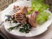 Grilled lamb rib with salad-costolette agnello — Stock Photo