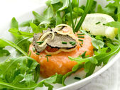 Salmon tartare with truffle and arugula salad — Stock Photo