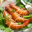 Giant shrimp with green salad - Lizenzfreies Foto