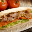 Kebab sandwich on dish — Stock Photo