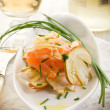salmon carpaccio with slice ovum mushroom salad — Stock Photo