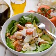 Mixed seafood salad with mozzarella and avocado - Stok fotoğraf