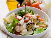 Mixed seafood salad with mozzarella and avocado — Stock Photo