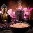 Royalty-Free Stock Photo: Buddah witn candle and incense