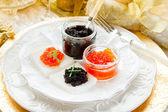 Caviar canape' on luxury table- tartine caviale — Stock Photo