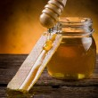 Stock Photo: Honey with beeswax