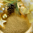Gold xmas decorations — Stock Photo #6431622