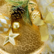 Gold xmas decorations — Stock Photo