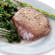 Stock Photo: Tenderloin with spinach
