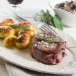 Grilled tenderloin with potatoes — Stock Photo