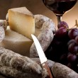 Stock Photo: Cheese salami grapes and red wine