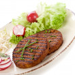 Stock Photo: Vegetarian hamburger with soy sprout radish and salad