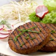 Vegetarian hamburger with soy sprout radish and salad — Stock Photo #6436372