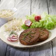 Vegetarian hamburger with soy sprout radish and salad — Stock Photo #6436383
