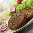Vegetarian hamburger with soy sprout radish and salad — Stock Photo