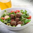 Royalty-Free Stock Photo: Mixed salad with vegetarian meatballs slice radish and  soy spro