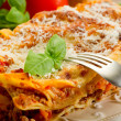 Italian lasagne  with ragout - Stock Photo