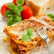 Italian lasagne  with ragout — Stock Photo