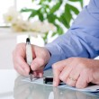 Writing check businnes concept — Stock Photo #6439328