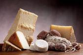 Italian cheese and salami — Stock Photo