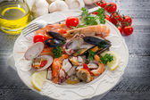 Sea salad on dish — Stock Photo
