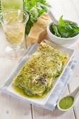 Vegetarian pesto lasagne — Stock Photo