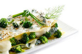 Vegetatarian lasagne with broccoli and spinach — Stock Photo
