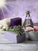 Lavender with bath product — Stock Photo