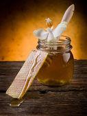 Miód z wosku pszczelego i kwiat — Zdjęcie stockowe