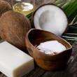 Natural coconut walnut oil and soap — Stock Photo