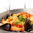 Stock Photo: Spaghetti with mussel clam and shrimp