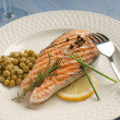 Grilled fresh salmon — Stock Photo #6445430