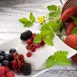 Ricotta with soft fruits - Stock Photo