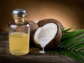Natural coconut walnut oil — Stock Photo