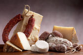 Italian cheese and salami — Stock Photo