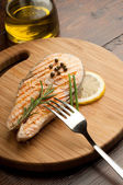 Grilled fresh salmon — Stock Photo