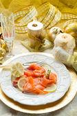 Salmon on dish — Stock Photo