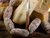 Sausage and cheese — Stok fotoğraf