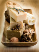 Natural spices soap with bath accessories — Stock Photo