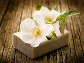 Natural flower soap- spa and bath concept — Stock Photo