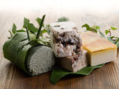 Variety of natural aromatic homemade soap, with vanilla, honey, — Stock Photo