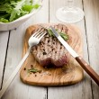 Stock Photo: Grilled tenderloin with arugulsalad