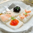 Mix canape on christmas table - Stock Photo