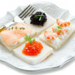 Mix canape on white — Stock Photo