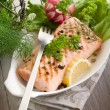 Grilled salmon with green salad — Stock Photo