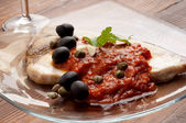 Swordfish alla messinese typical italian recipe — Stock Photo