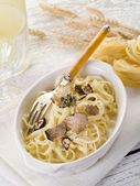 Tagliatelle with truffle and cream sauce — Stock Photo