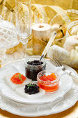 Caviar canape' on luxury table — Stock Photo