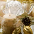Gold xmas decorationes — Stock Photo
