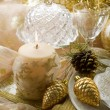 Gold xmas table decorations — Stock Photo